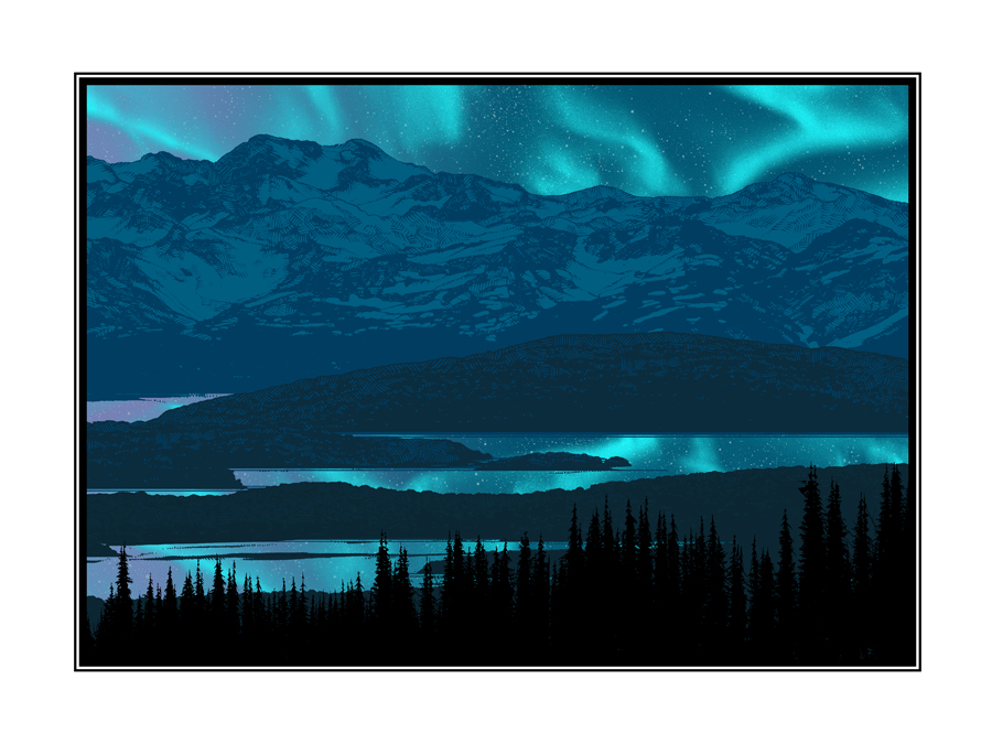 """Aurora - North"" by Dan McCarthy.  18"" x 24"" 7-color Screenprint w/ GID.  $40 each : $60 set"