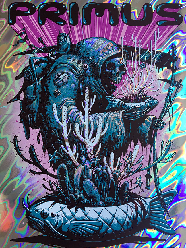 """Primus - Pensacola, FL 2016"" by Jeff Soto.  18"" x 24"" 5-color Screenprint.  Ed of 30 S/N.  $100 (Lava Foil)"