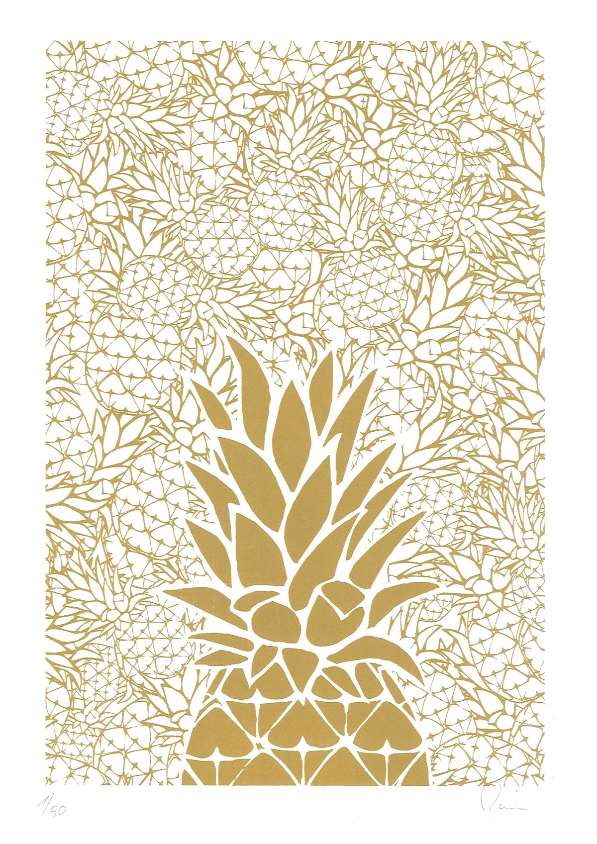 """Pineapple Edition 8"" by Rainer Taepper.  11.69"" x 16.54"" Screenprint.  Ed of 50 S/N.  €39 ($43)"