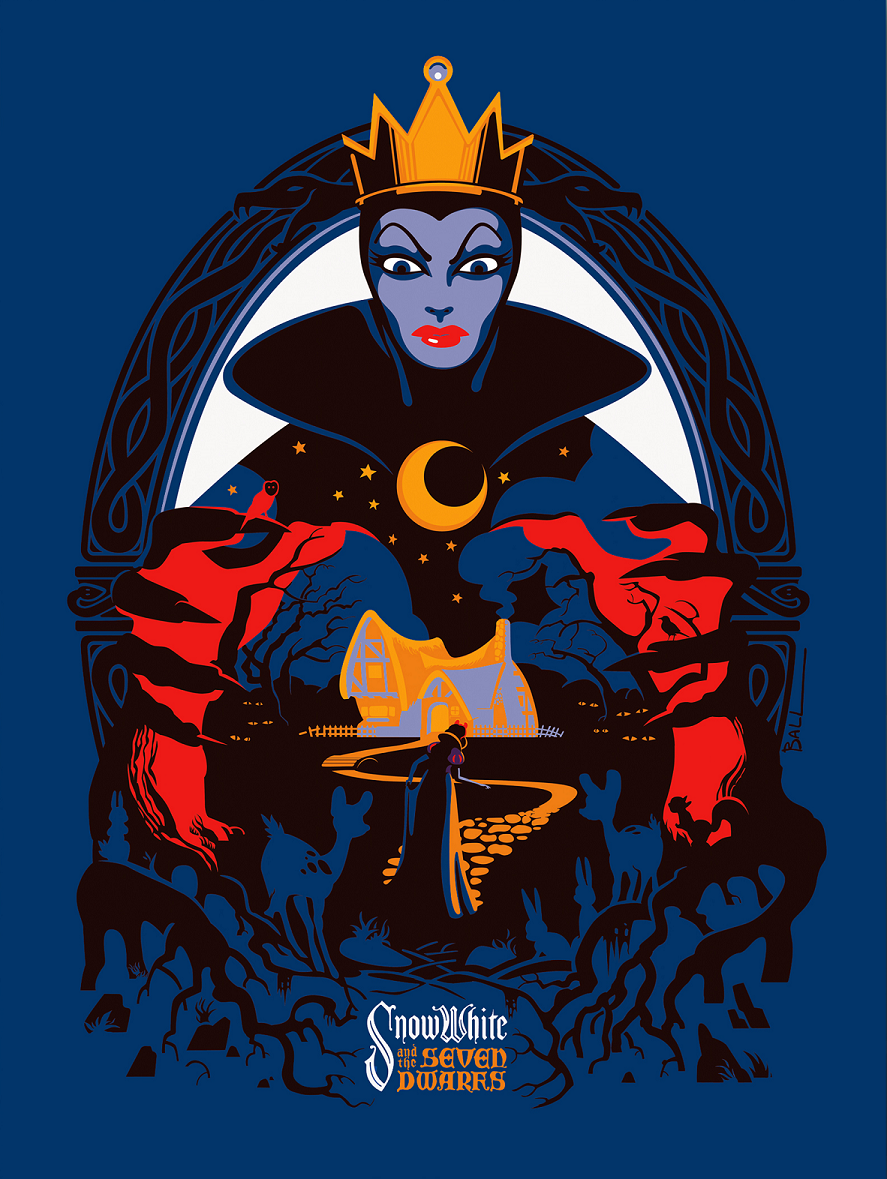 """Snow White and the Seven Dwarfs"" by Robert Ball.  24"" x 36"" Screenprint.  Ed of 200 N.  $55"