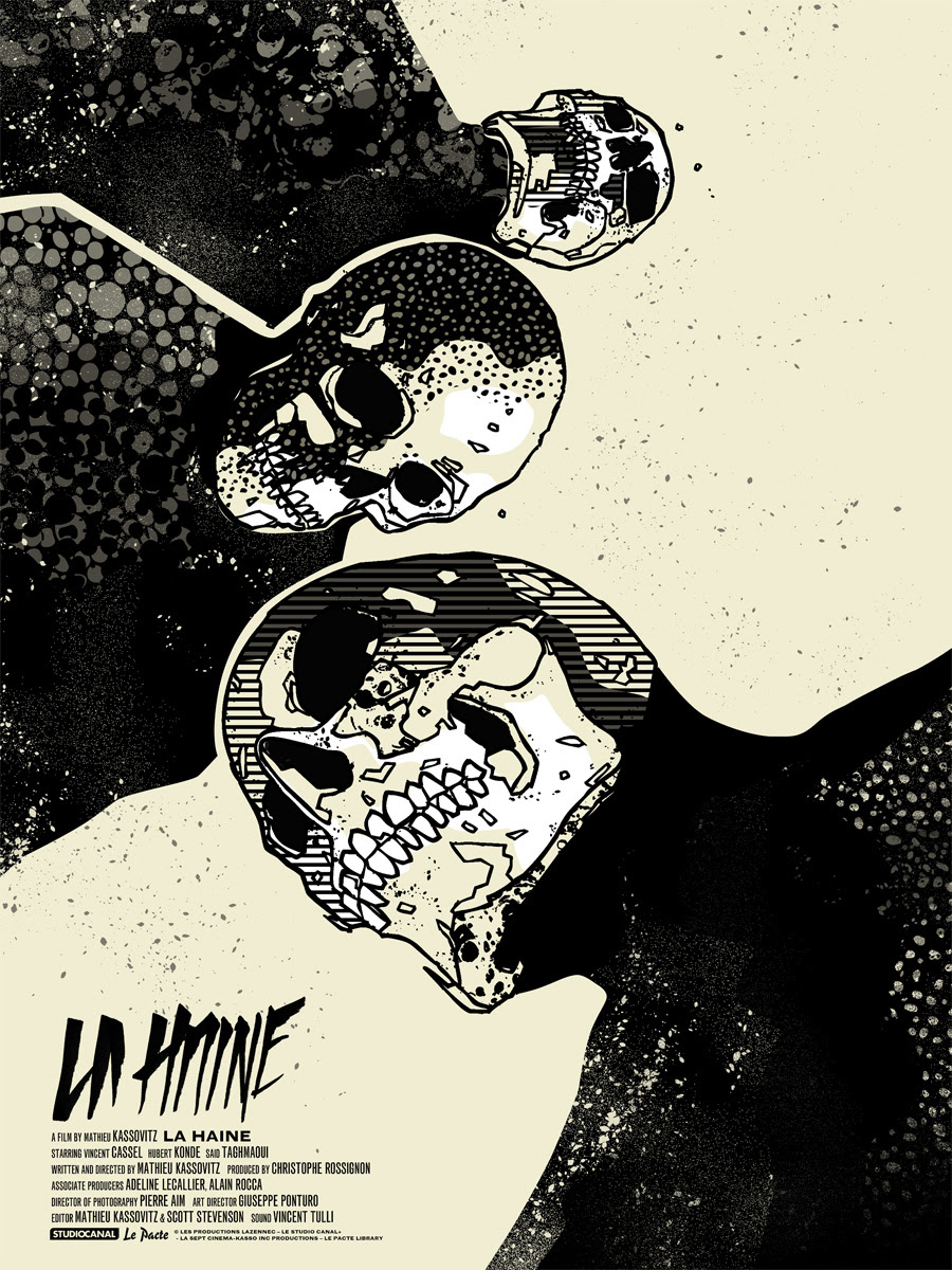 """La Haine"" by We Buy Your Kids.  18"" x 24"" 4-color Screenprint.  Ed of 120 N.  £40 ($57)"