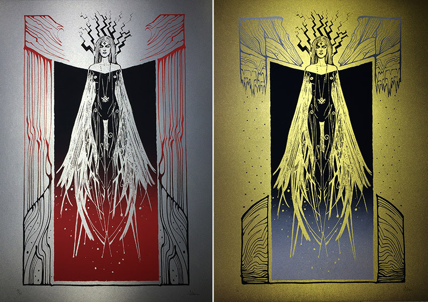 """Strix"" by Malleus.  50 x 70cm 2-color Screenprint  Silver (Ed of 33) : Gold (Ed of 33)"