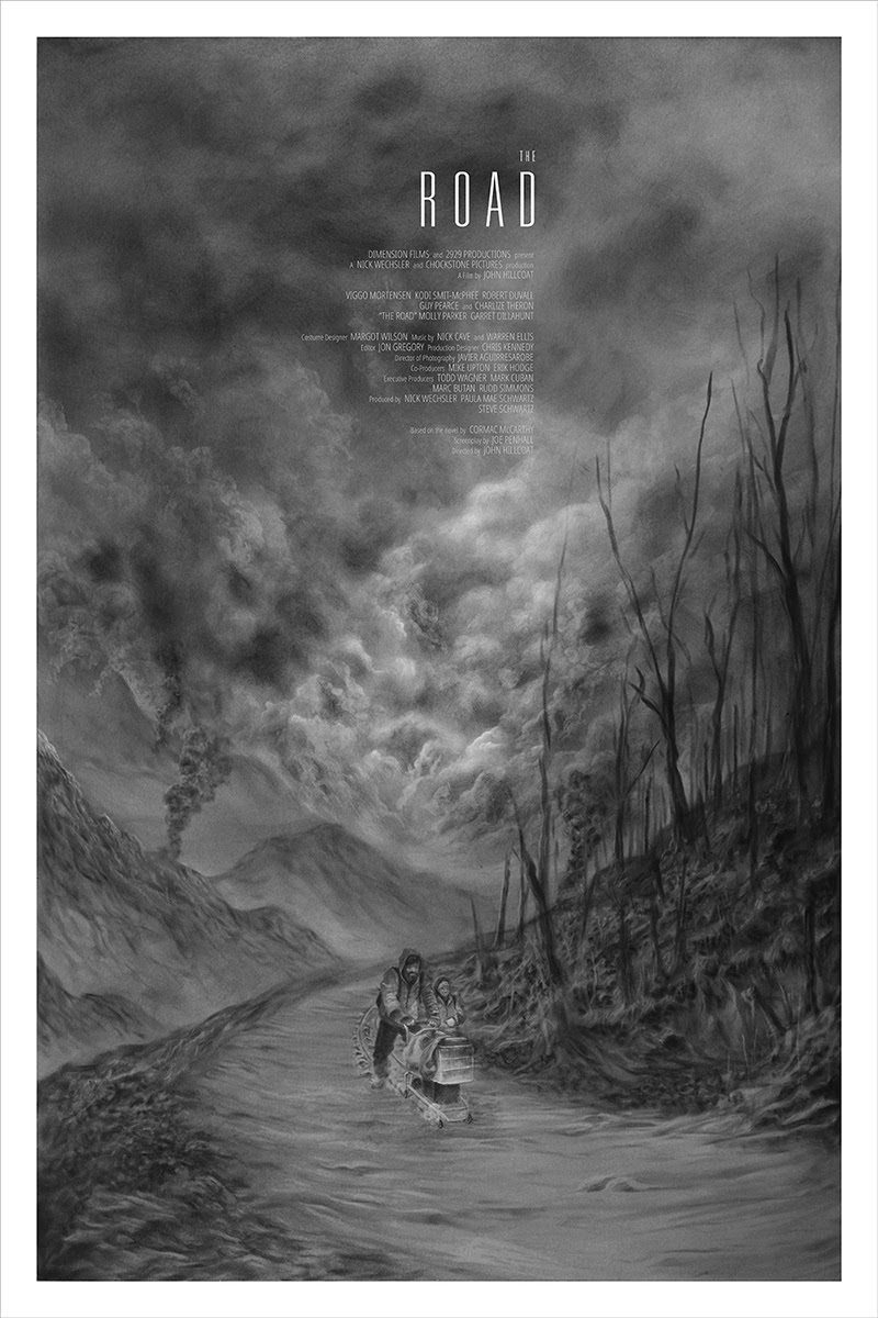 "The Road by Randy Ortiz. 24""x36"" screen print. Hand numbered. Edition of 225. Printed by D&L Screenprinting. $45"