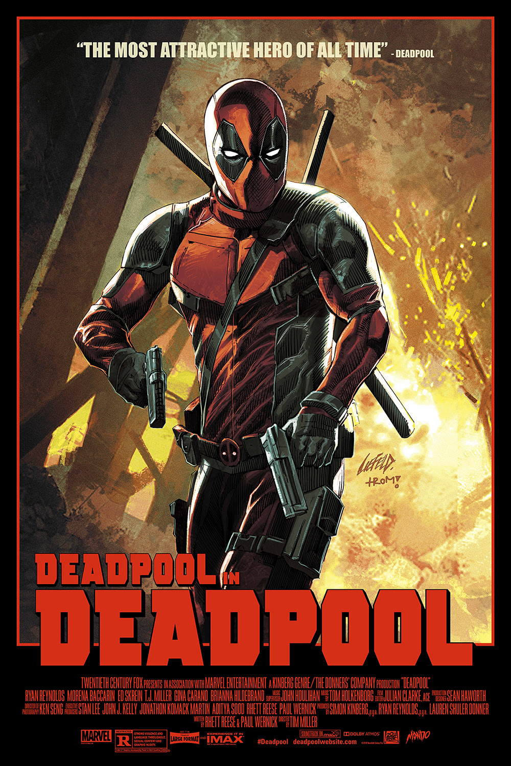 "Deadpool by Rob Liefeld. 24""x36"" screen print. Hand numbered. Edition of 325. Printed by D&L Screenprinting. $55"