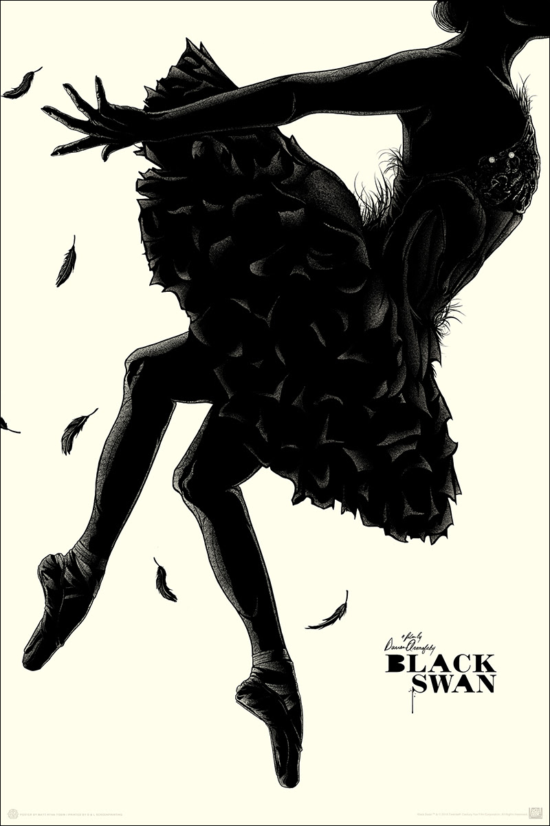 "Black Swan by Matt Ryan Tobin. 24""x36"" screen print. Hand numbered. Edition of 225. Printed by D&L Screenprinting. $40"