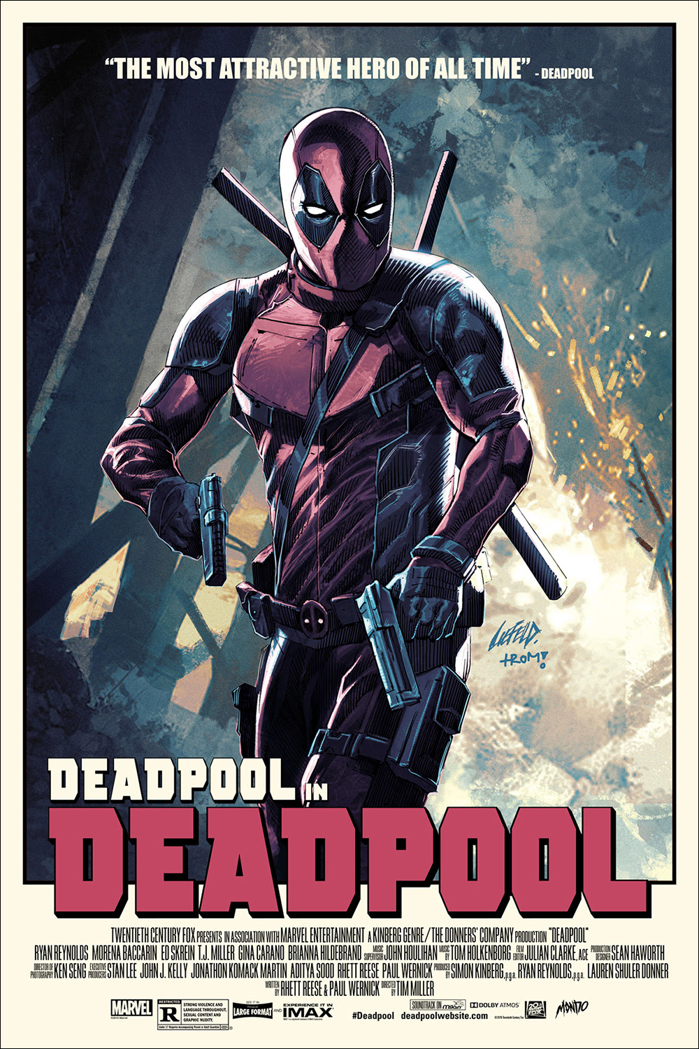 "Deadpool (Variant) by Rob Liefeld. 24""x36"" screen print. Hand numbered. Edition of 175. Printed by D&L Screenprinting. $75"