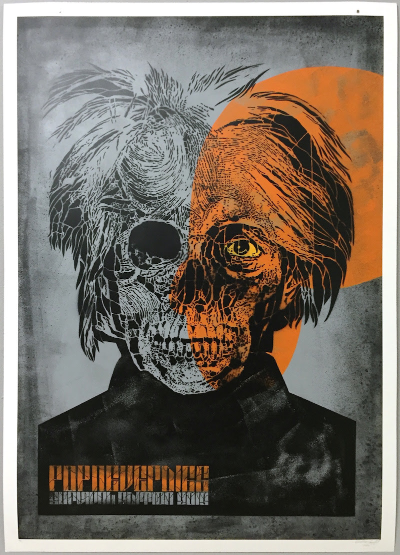 """Pop Will Never Die"" by Orticanoodles.  70 x 100cm Stencil/Spraypaint.  Ed of 15 S/N.  €450 ($500)"
