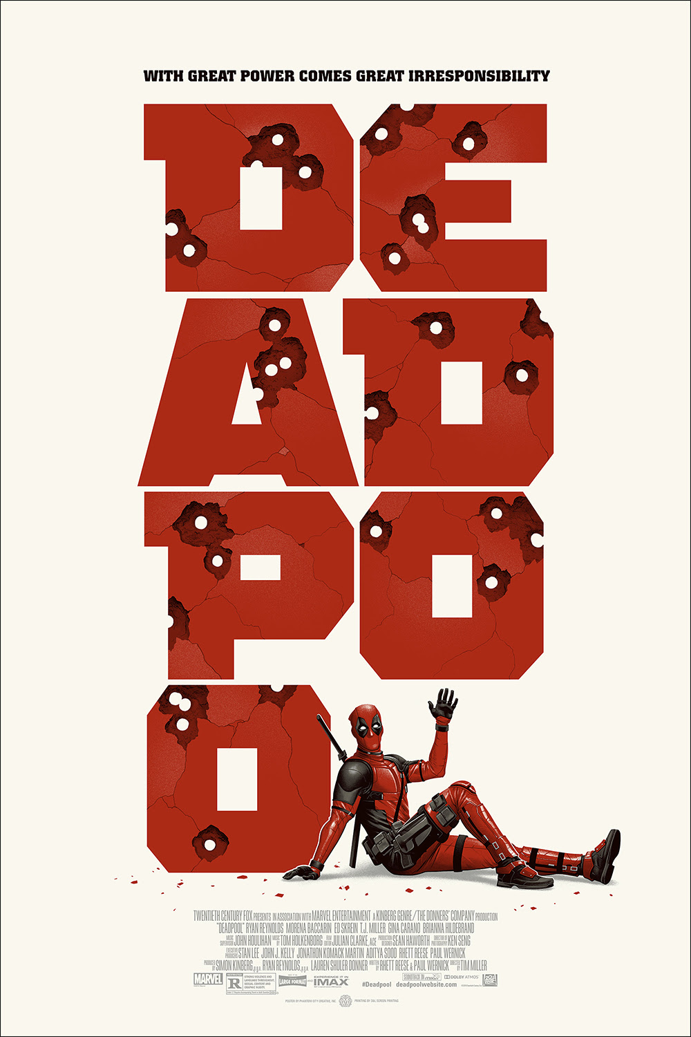 "Deadpool (Version 2) by Phantom City Creative. 24""x36"" screen print. Hand numbered. Edition of 275. Printed by D&L Screenprinting. $45"