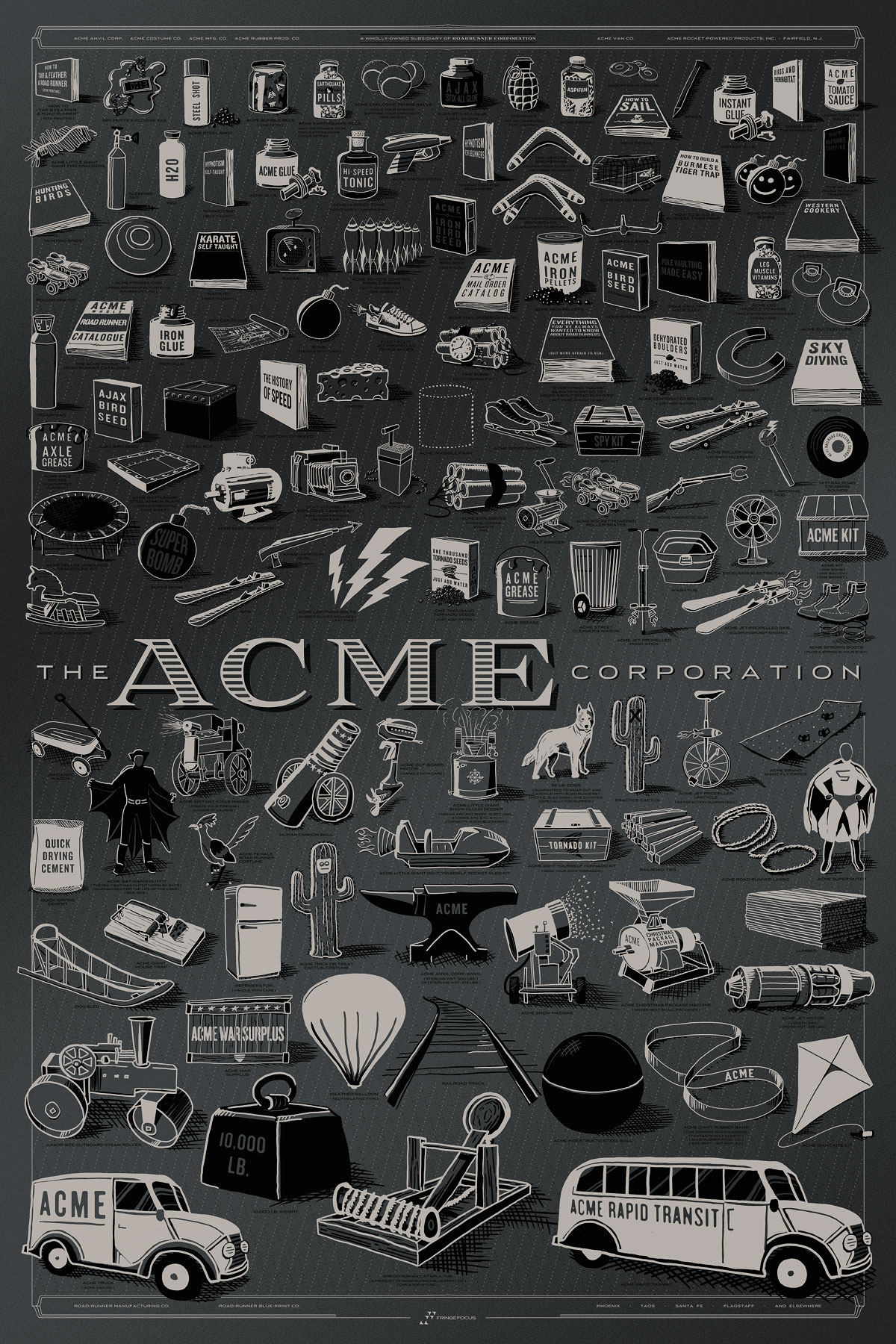 "The ACME Corporation by Rob Loukotka.  24"" x 36"" 2-color Screenprint.  Ed of 250 S/N.  $100 (Iron Anvil Variant)"