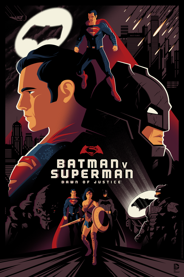 """Batman v Superman: Dawn of Justice"" by Tom Whalen.  24"" x 36"" Screenprint.  Standard (Ed of 280, $65) : Foil (Ed of 10, $150)"
