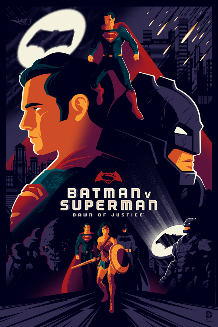 """Batman v Superman: Dawn of Justice"" by Tom Whalen.  24"" x 36"" Screenprint.  Variant (Ed of 50, $100) : Foil (Ed of 10, $150)"