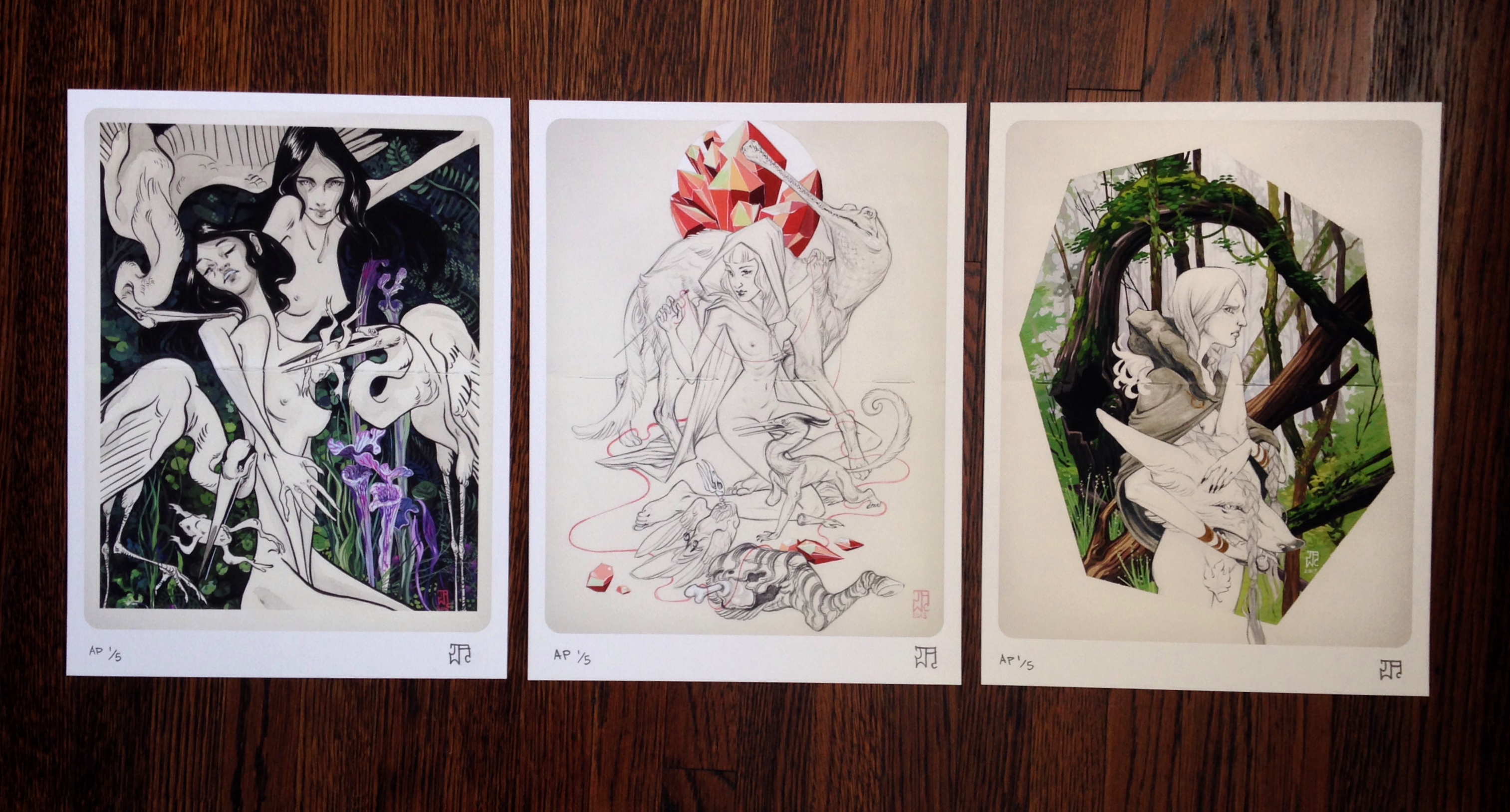 "'Possession', 'Fragile', and 'Prowl"" by J.A.W. Cooper.  (3) 9"" x 12"" Giclees.  Ed of 35.  $140 set"