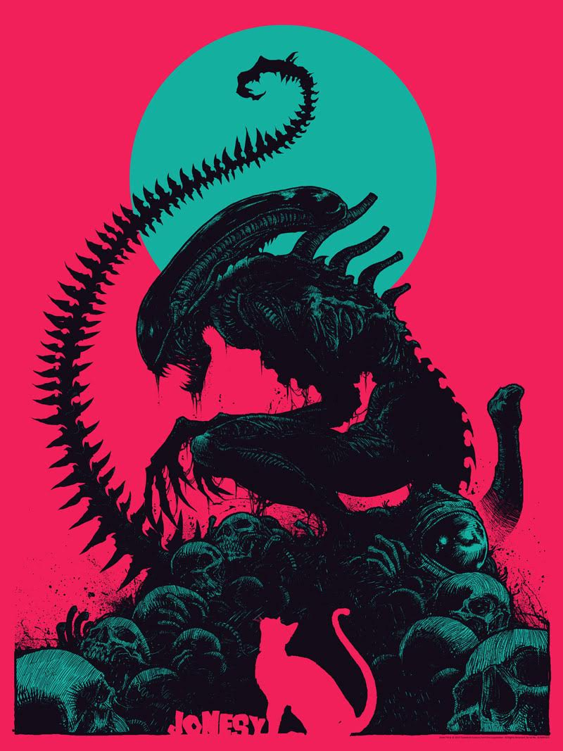"""Jonesy"" by Godmachine.  18"" x 24"" Screenprint.  Ed of 50 N.  $50 (Pink variant)"