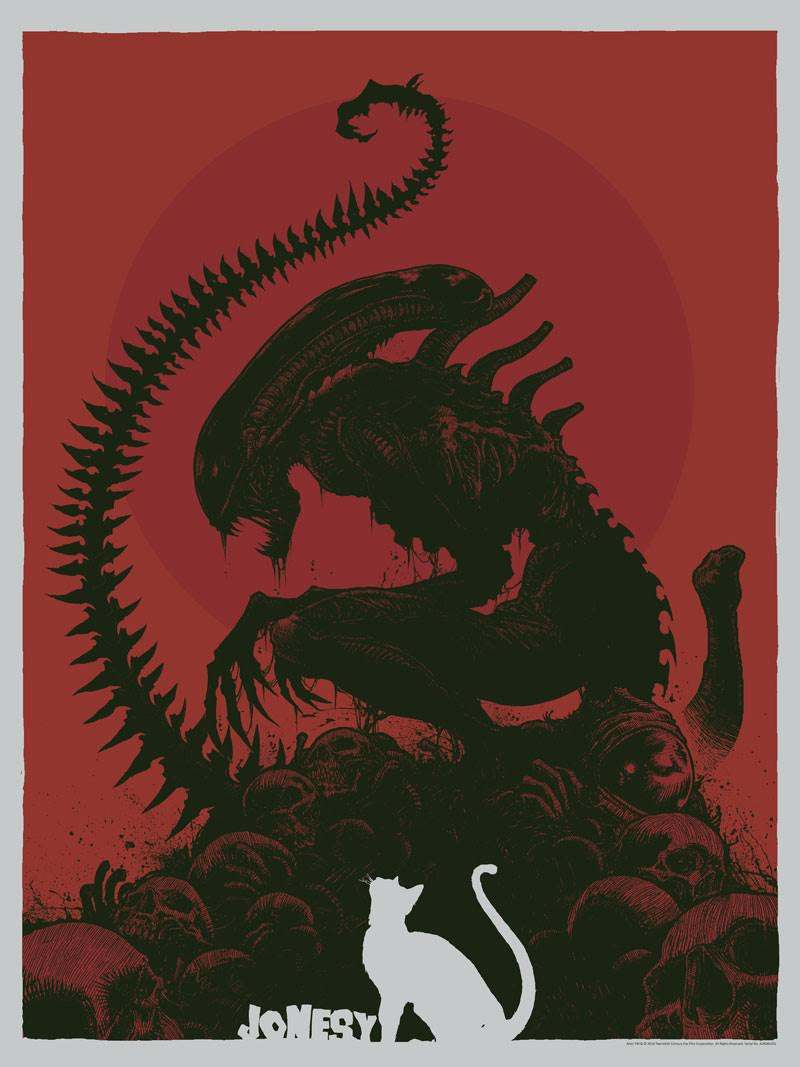 """Jonesy"" by Godmachine.  18"" x 24"" Screenprint.  Ed of 50 N.  $50 (Red variant)"