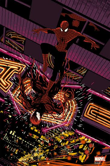 """Spider-Man Vs. Carnage"" by Raid71.  24"" x 36"" 8-color Screenprint.  Ed of 150 N.  $45"