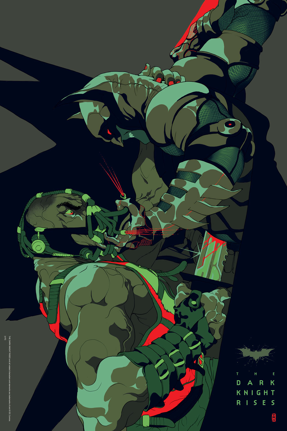 """The Dark Knight Rises"" by Tomer Hanuka.  24"" x 36"" 9-color Screenprint.  Ed of 250 N.  60€ ($68)"