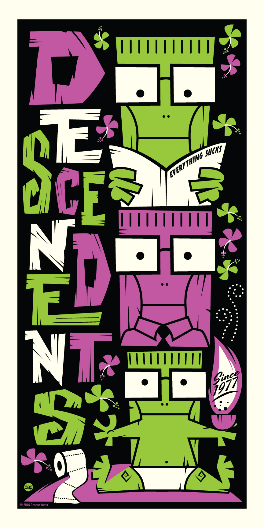 """The Descendents"" by Dave Perillo.  12"" x 24"" 3-color Screenprint.  Ed of 77 N.  $50"