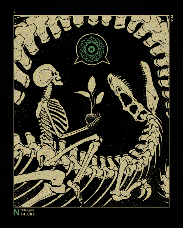 """Nitrogen"" by Dan McCarthy.  8"" x 10"" 2-color Screenprint.  Signed/numbered.  $15"