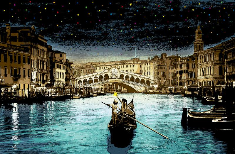 """When You Wish Upon A Star - Venice"" by Roamcouch.  36"" x 24"" 16-color Screenprint.  Ed of 100 S/N.  $250"