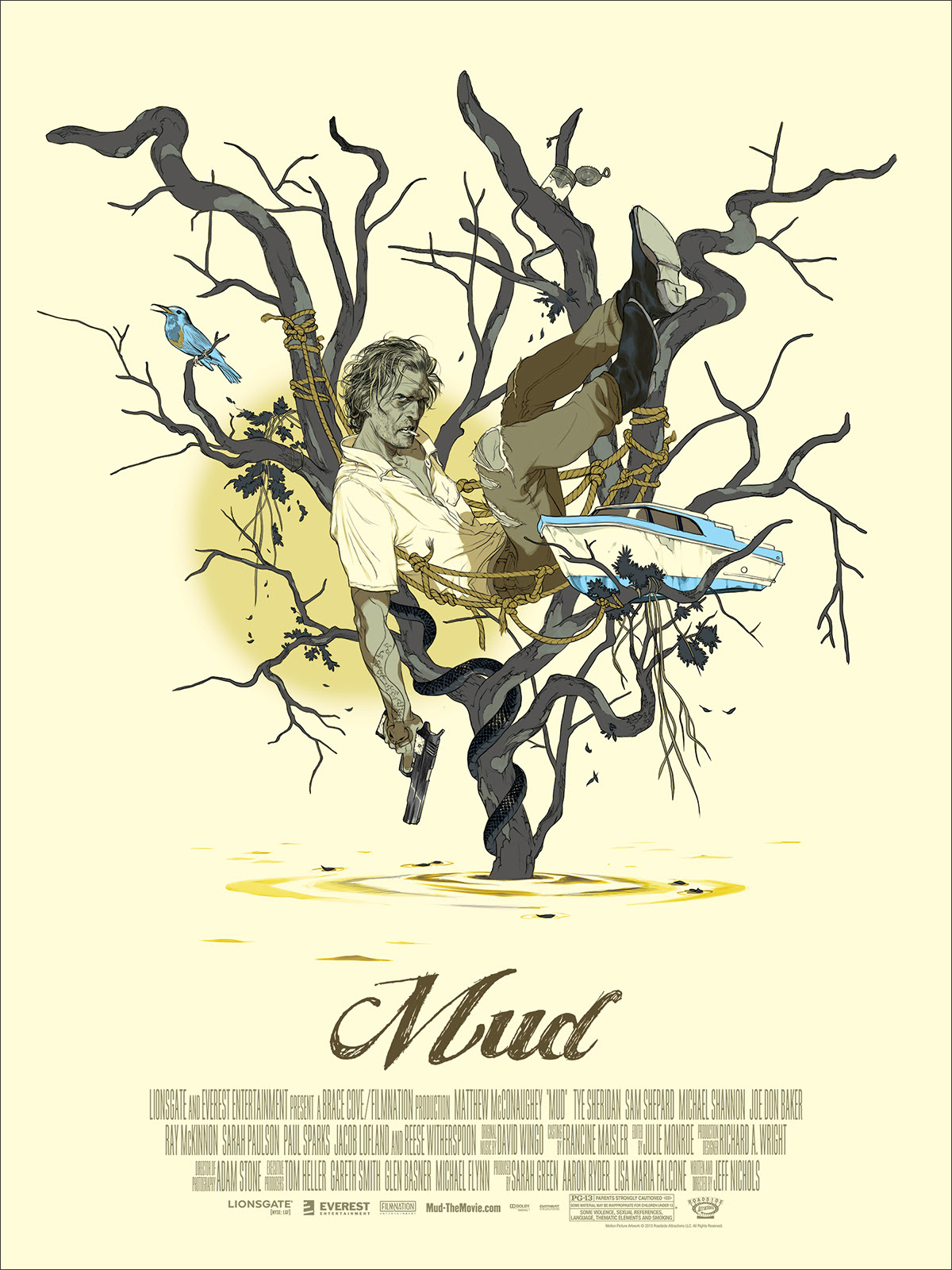 "Mud by Tomer Hanuka. 18""x24"" screen print. Hand numbered. Edition of 225. Printed by D&L Screenprinting. $40"