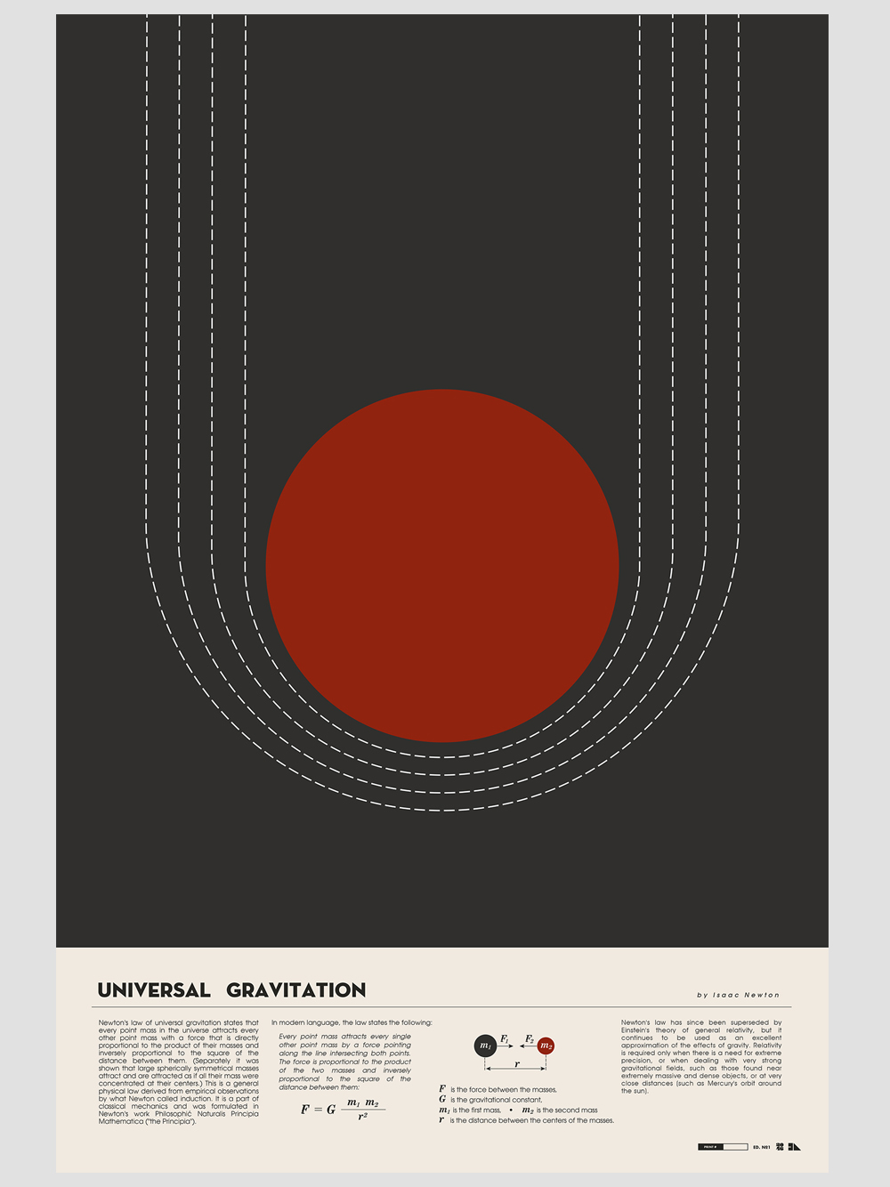 """Universal Gravitation"" by Justin Van Genderen.  16"" x 24"" 2-color Screenprint.  Ed of 50.  $40"