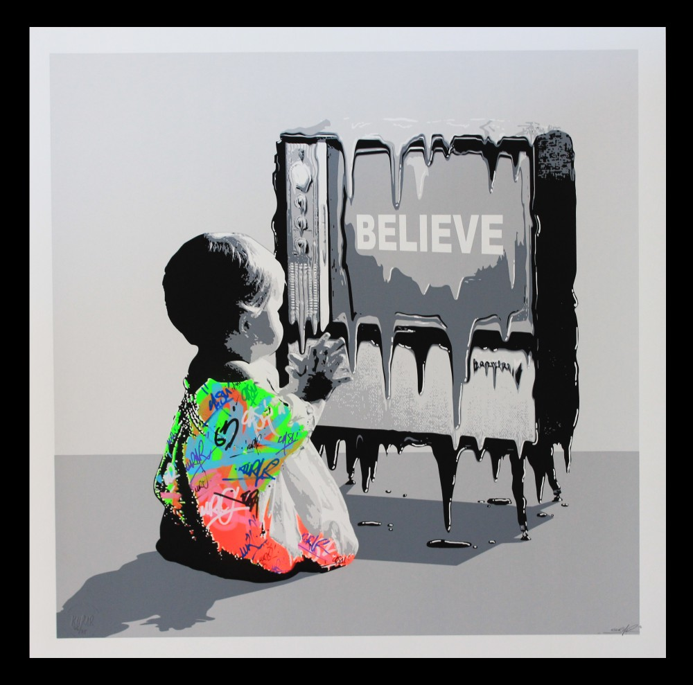 """Believe"" by Kurar.  60 x 60cm Screenprint, hand-finished.  Ed of 75 S/N.  £299 ($425)"