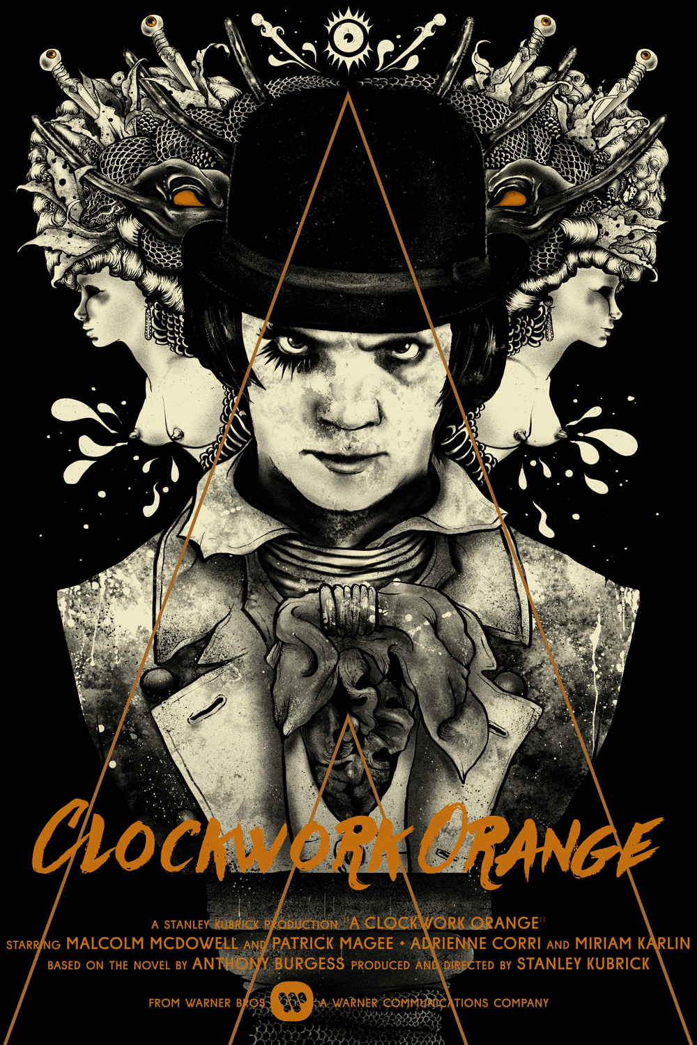 """A Clockwork Orange"" by Nikita Kaun.  24"" x 36"" 4-color Screenprint.  Timed maximum edition of 55.  £47 ($67)"