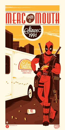 """Deadpool"" by Dave Perillo.  12"" x 24"" 4-color Screenprint.  Ed of 150.  $40"