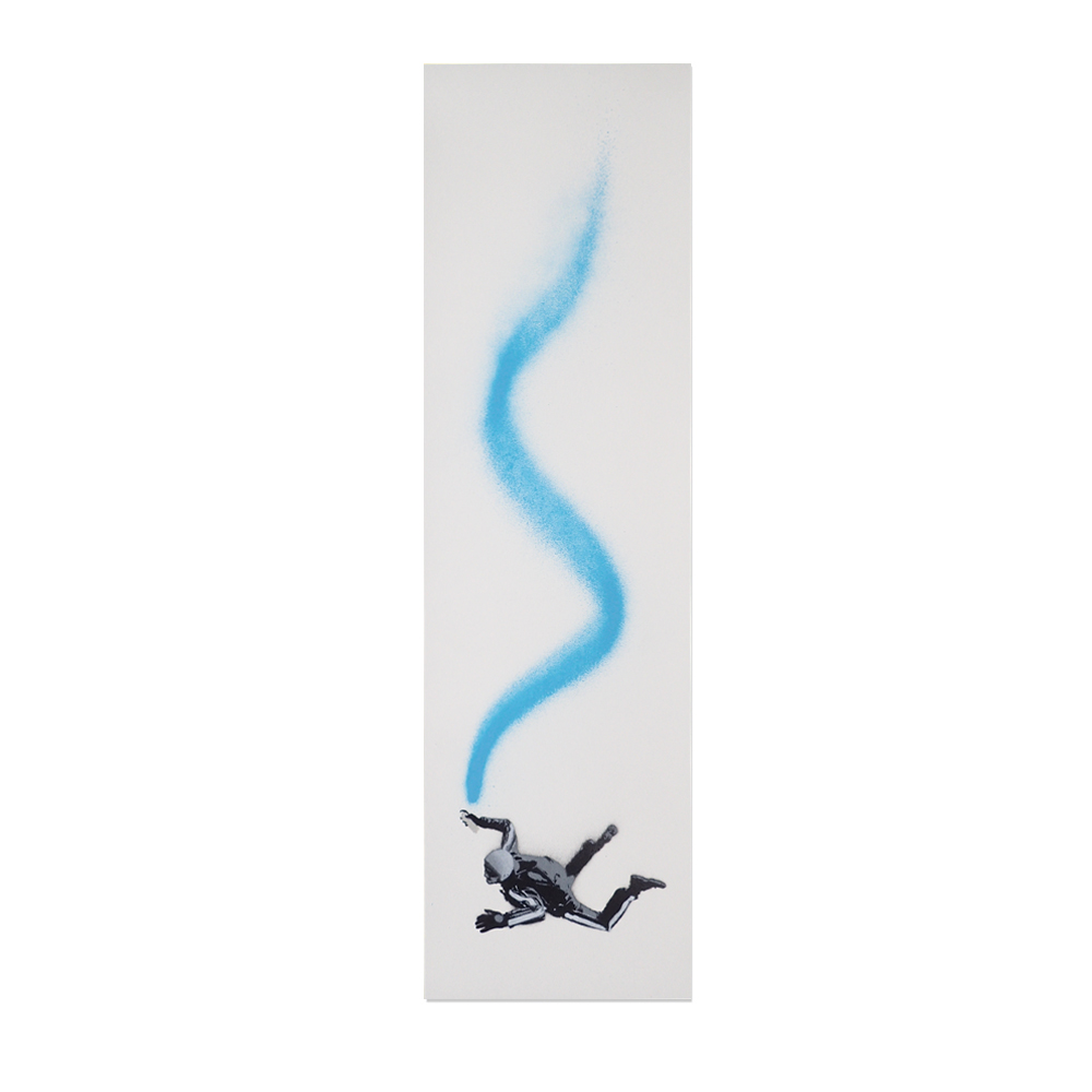 """Free Fall"" by John Doe.  20 x 70cm Stencil/Spraypaint, each unique.  Ed of 35 S/N.  £69 ($99)"