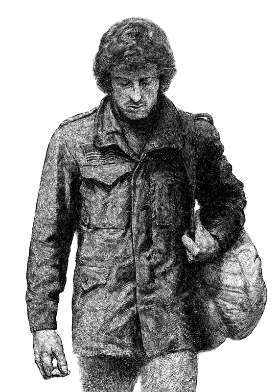 """""""John James Rambo"""" by John Barry Ballaran.  11.7"""" x 16.5"""" 1-color Screenprint.  Ed of 30 N.  £16.50 ($23)"""