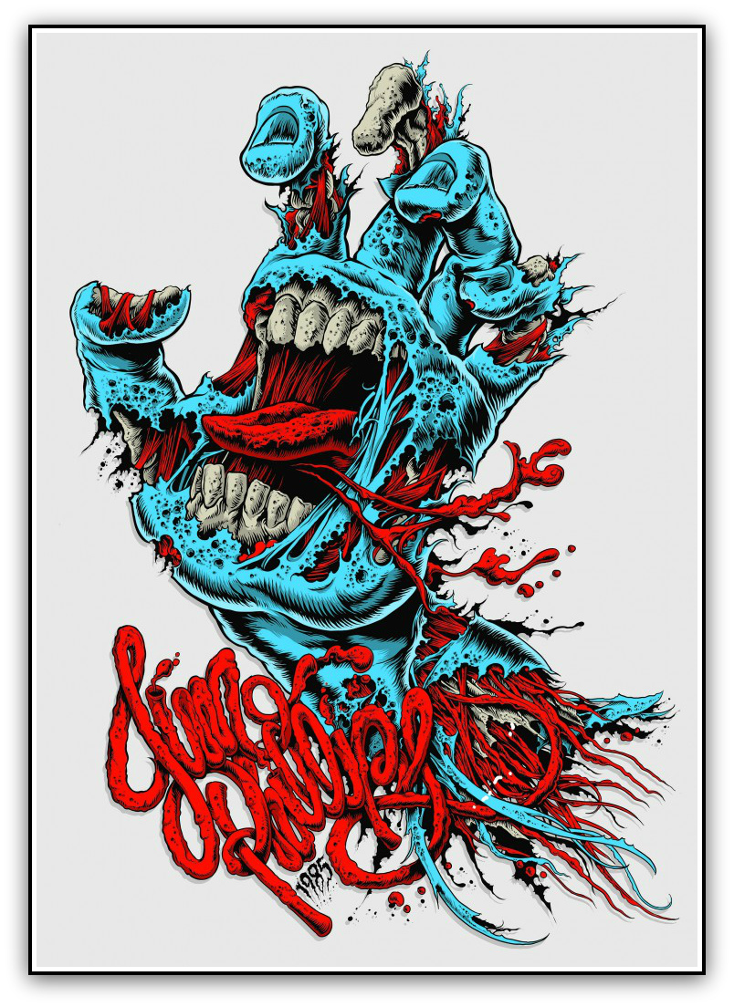 """Screaming Hand"" by Ken Taylor.  16.5"" x 23.5"" 6-color Screenprint.  Ed of 100 S/N.  $75"