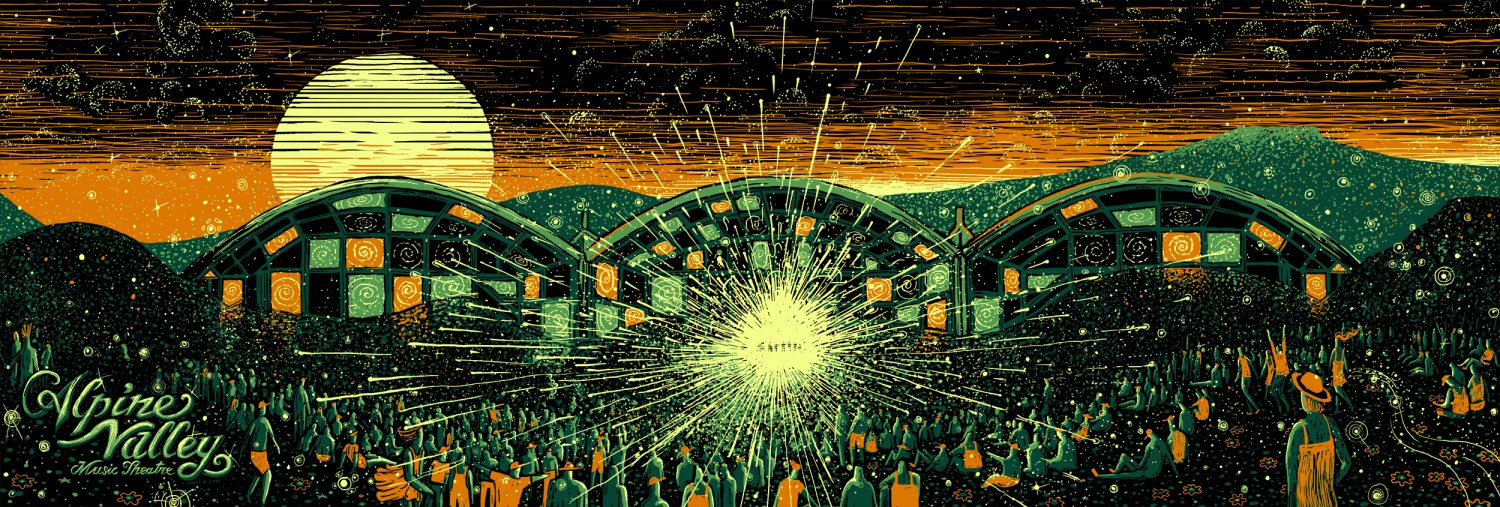 """Alpine Valley at Sunset""​ by James R Eads.  12"" x 36"" 4-color Screenprint.  Timed edition S/N.  $50 each : $90 set"