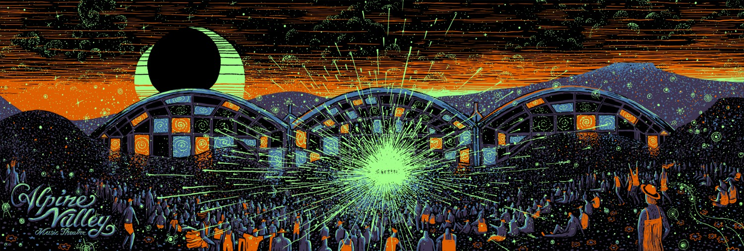 """Alpine Valley at Night""​ by James R Eads.  12"" x 36"" 4-color Screenprint.  Timed edition S/N.  $50 each : $90 set"