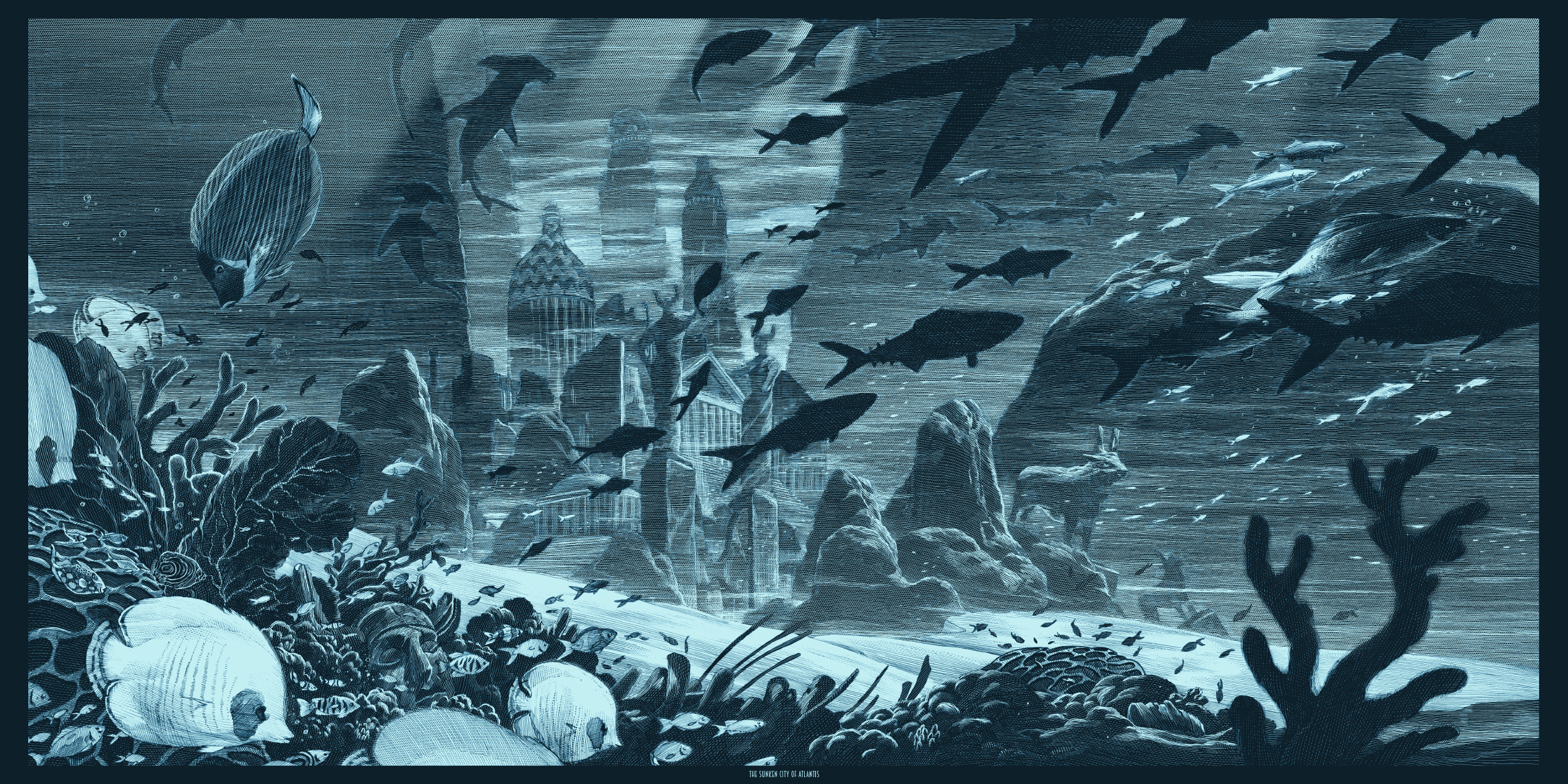 """Atlantis"" by Nicolas Delort.  12"" x 24"" Screenprint w/ metallics.  Ed of 30 N.  $75 (variant)"