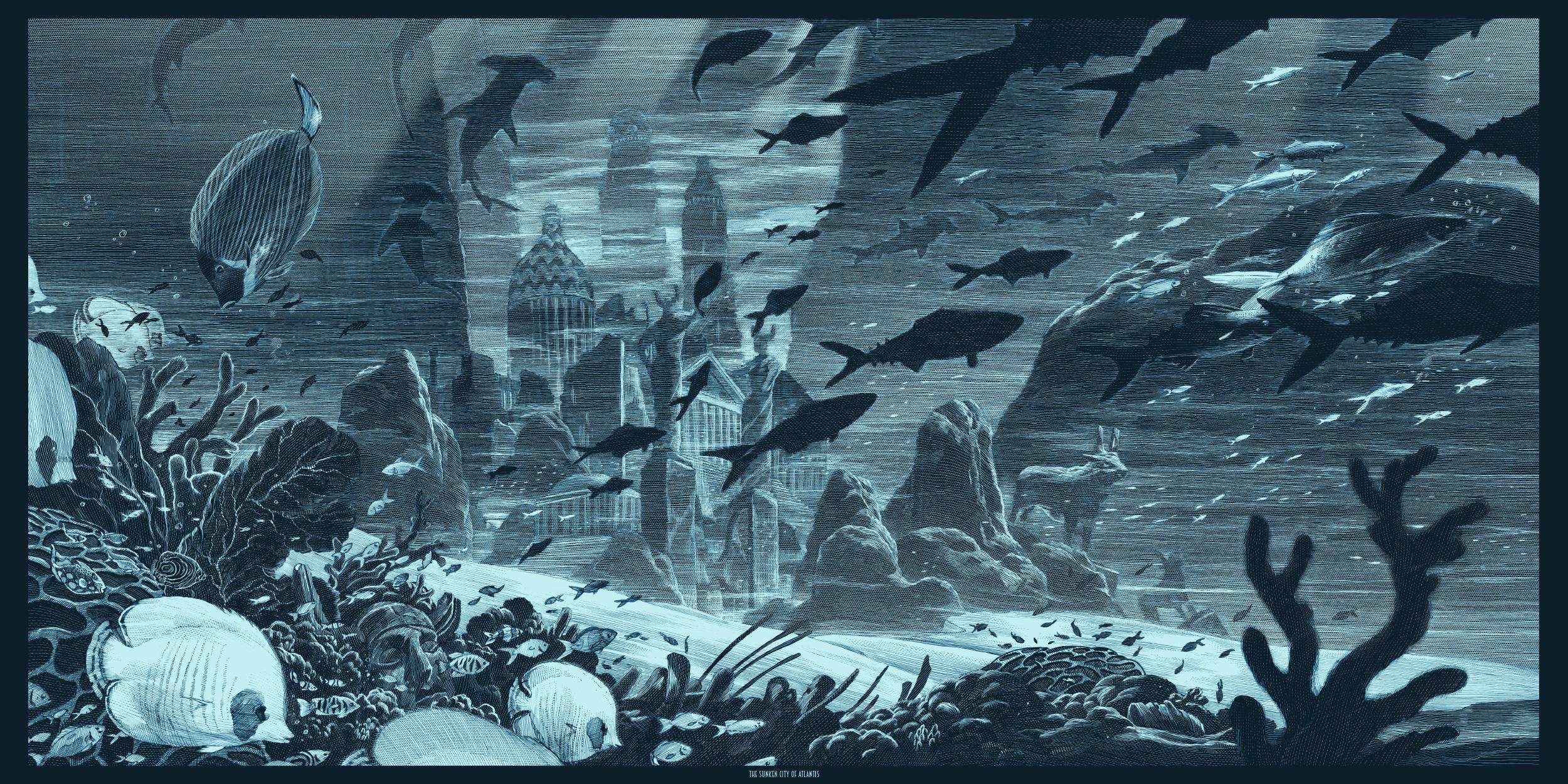 """Atlantis"" by Nicolas Delort.  12"" x 24"" Screenprint w/ metallics.  Ed of 30 N.  $75 (variant)"