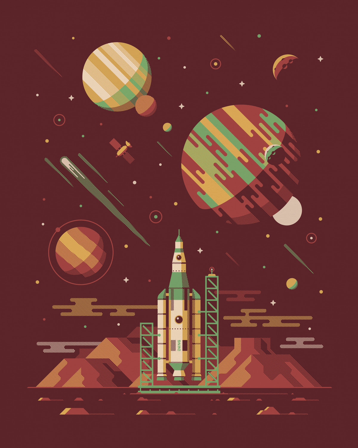 """Explorers Club: Orion"" by DKNG.  16"" x 24"" 4-color Screenprint.  Open edition S.  $25"