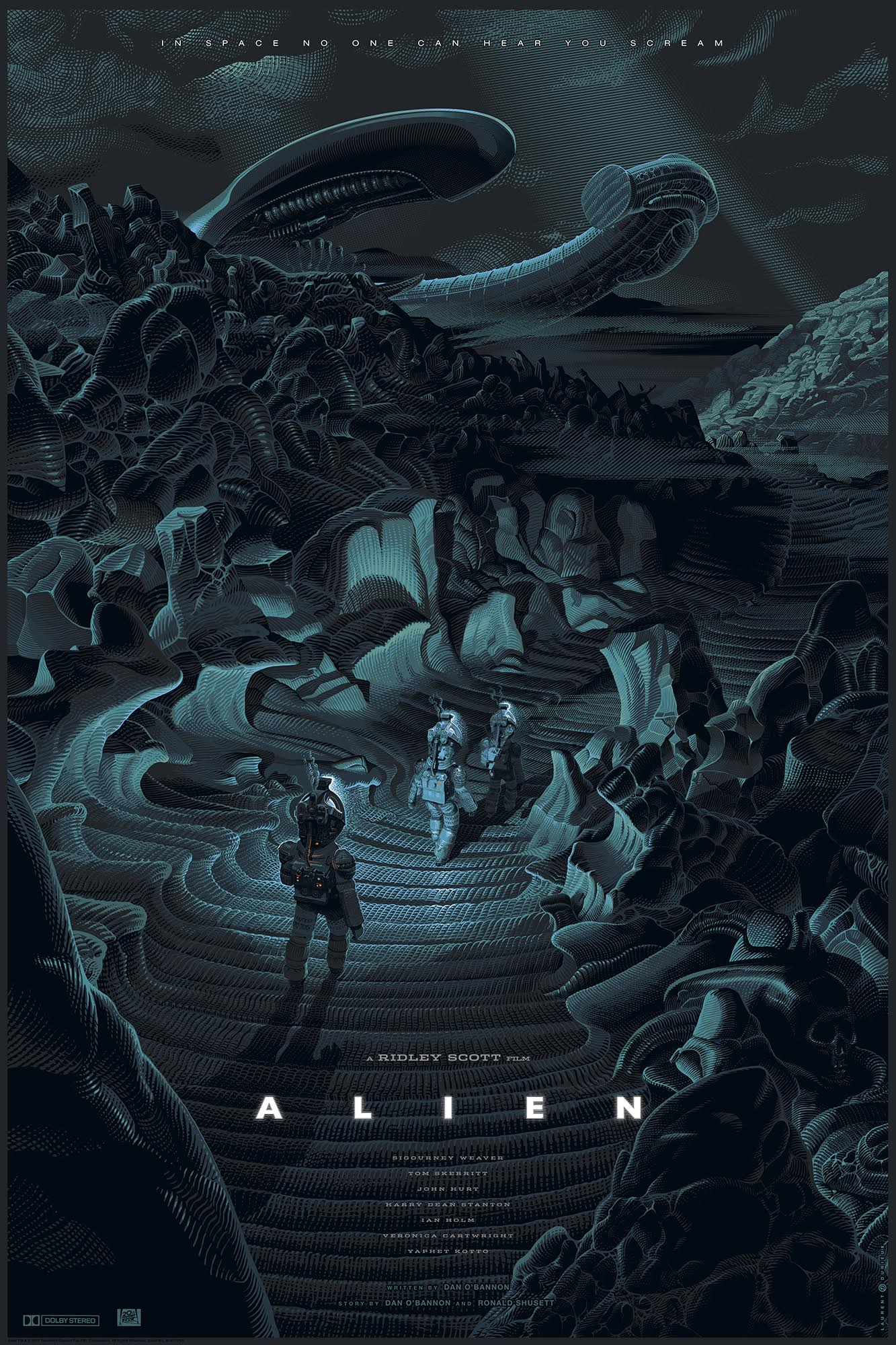 """Alien"" by Laurent Durieux.  24"" x 36"" 9-color Screenprint w/ metallic inks.  Ed of 225.  $85 (variant)"