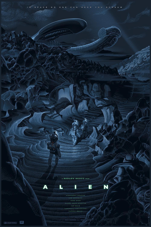 """""""Alien"""" by Laurent Durieux.  24"""" x 36"""" 9-color Screenprint.  Ed of 550.  $65"""
