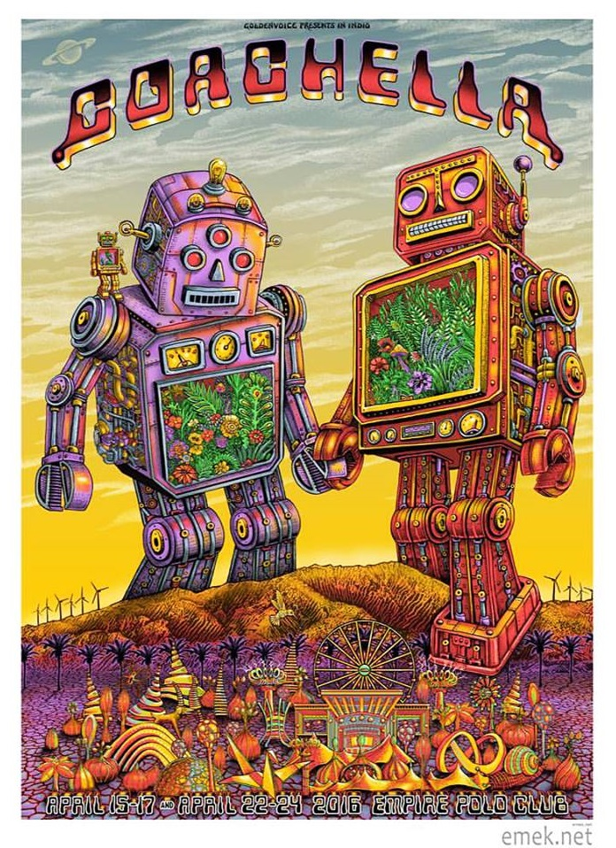 """Coachella 2016"" by Emek.  22"" x 30.5"" Screenprint.  Artist edition of 100 S/N.  $150"