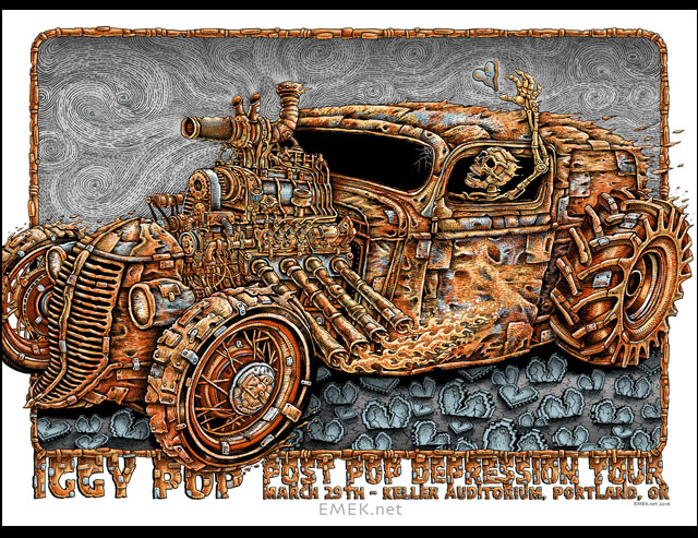 """Iggy Pop - Portland, OR 2016"" by Emek.  24"" x 18"" Screenprint.  Artist edition of 100 S/N.  $100"