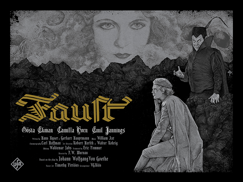 """Faust"" by Timothy Pittides.  24"" x 18"" 4-color Screenprint.  Ed of 70 S/N.  $30"