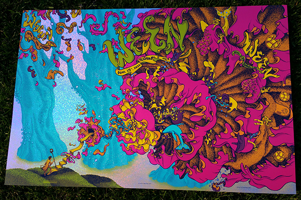 """Ween - New York, NY 2016"" by James Flames.  36"" x 24"" 5-color Screenprint.  Artist Edition of 8 S/N.  $175 (Sparkle Foil)"
