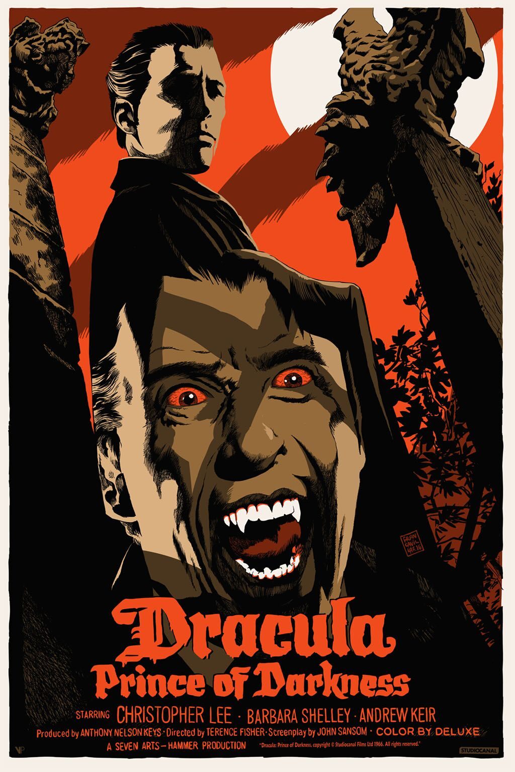 """Dracula: Prince Of Darkness"" by Francesco Francavilla.  24"" x 36"" 7-color Screenprint.  Ed of 60. £50 ($73) (variant)"