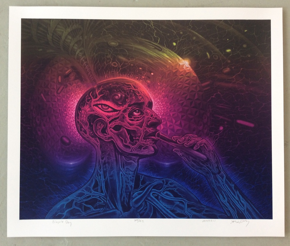 """Bicycle Day"" by Alex Grey X Mars-1.  24"" x 20"" Screenprint.  Ed of 419 S/N.  $55"