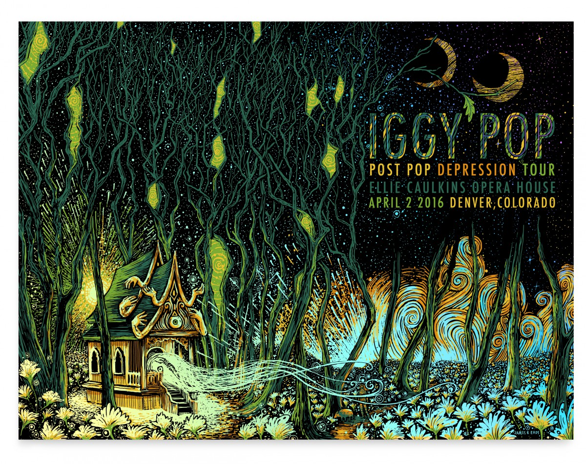 """Iggy Pop - Denver, CO 2016"" by James R Eads.  18"" x 24"" 5-color Screenprint.  AP edition of 20 S/N.  $60 (Foil)"