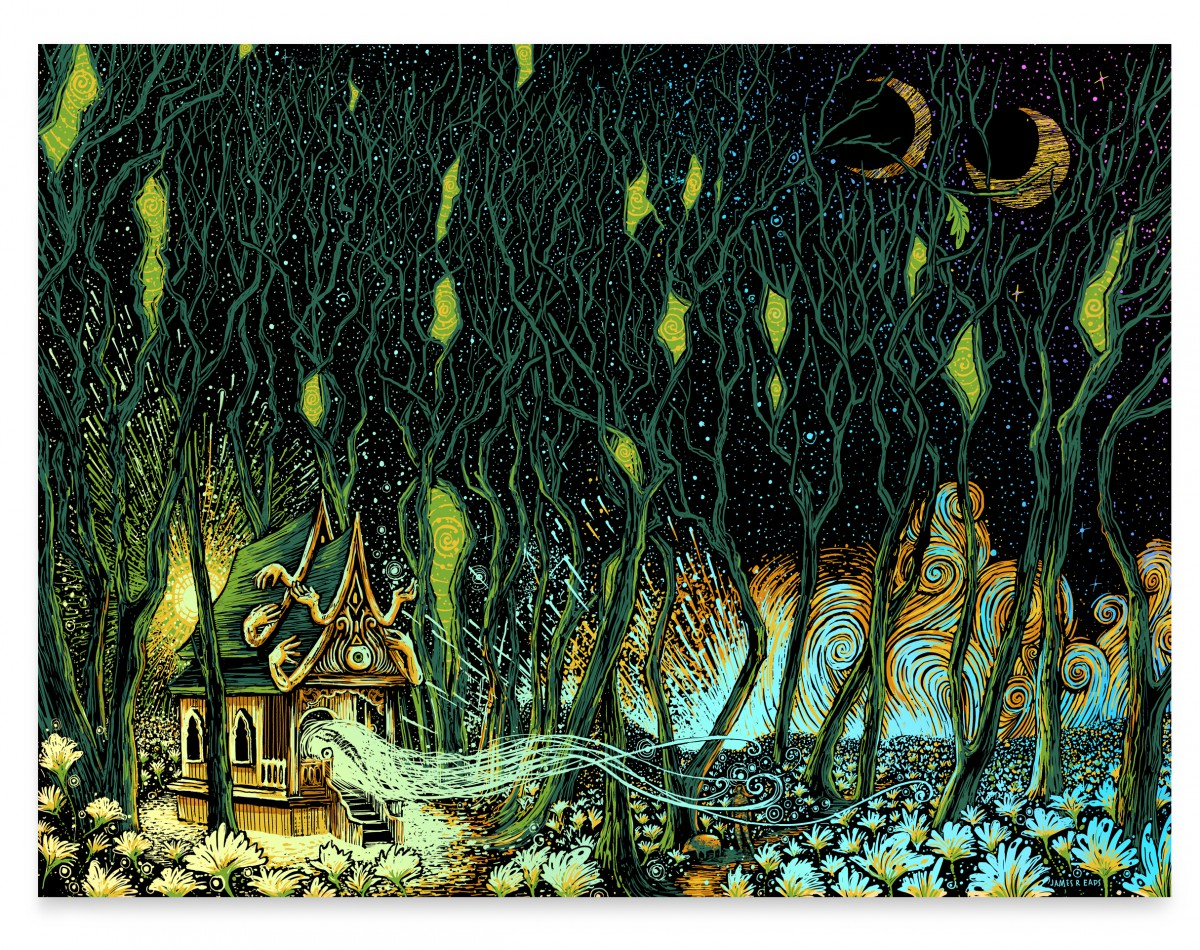 """The Shrine"" by James R Eads.  18"" x 24"" 5-color Screenprint.  Ed of 30 S/N.  $60 (Foil)"