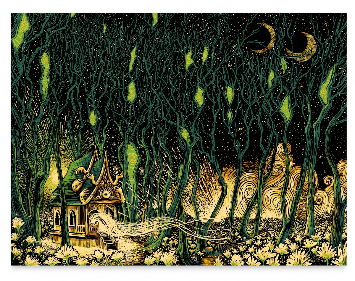 """The Shrine"" by James R Eads.  18"" x 24"" 5-color Screenprint.  Ed of 30 S/N.  $40"