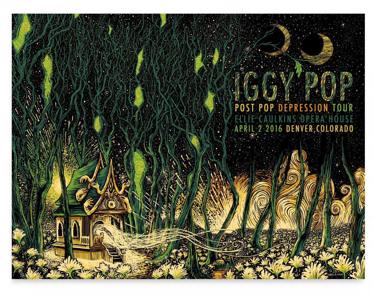 """Iggy Pop - Denver, CO 2016"" by James R Eads.  18"" x 24"" 5-color Screenprint.  AP edition of 40 S/N.  $40"