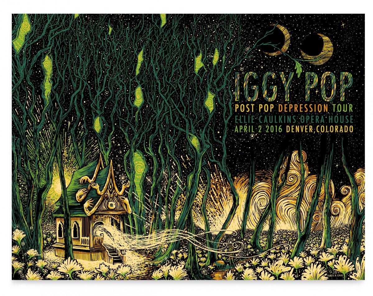 """Iggy Pop - Denver, CO 2016"" by James R Eads.  18"" x 24"" 5-color Screenprint.  AP edition of 40 S/N.  $40"