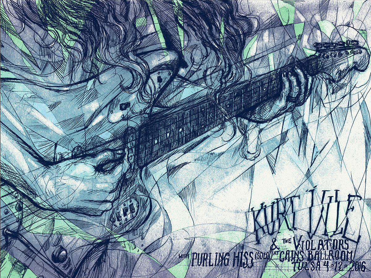 """Kurt Vile - Tulsa, OH 2016"" by Bjorn Bauer.  18"" x 24"" 3-color Screenprint w/ split fountain.  Ed of 45 S/N.  $20 (Blue)"